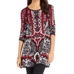 New Red Black Damask Print Cozy Soft Tunic Sweater